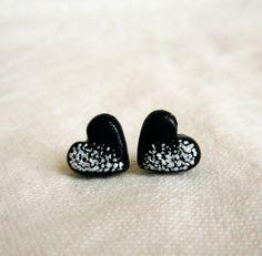 Black stud earrings, Tiny heart stud earrings, hand painted via Etsy