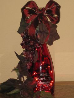 Red Wine Bottle Light - for sale in my Etsy shop - Red bow, red grapes, grapevine.