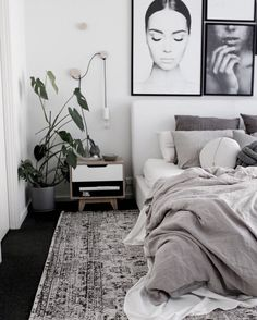 Monochrome living Nousha Black and White Monochrome Transitional Rug (Pre-Order) Vertical Blinds Can Scandi Bedroom, Monochrome Bedroom, White Bedroom Decor, Room Ideas Bedroom, Home Decor Bedroom, Modern Bedroom, Monochrome Interior, White Bedroom Black Furniture, Bedroom Furniture