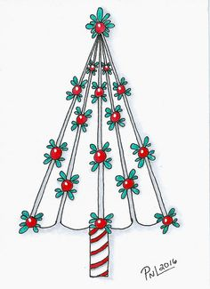 """6 of 16...Christmas trees show casing a single tangle...tangle used is """"Radhost""""."""