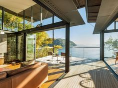 pavilion house on hillside at Great Mackerel Beach in Sydney's Pittwater area