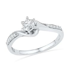 This season, treat her with this exquisite promise ring that will bestow a hint of sparkle to her elegance .Show her your love with beautiful token of love .This beautiful ring offers a unique appearance, and symbolizes a promise of love that is for infinity. Metal Type – 10KT White Gold Metal Wt – 1.45 Gem Type – Round Diamond Gem Wt – 1/6 cttw