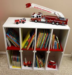 Garage Redo The Bookshelf Between 3 Sistersbetween Sisters Kids Storage Furniturefire Truck