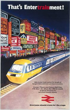 Poster produced for British Rail promoting 'Theatre and Concert .Rail Club' excursions to London showing an intercity locomotive with crowds Transport Info, Public Transport, Transport Posters, Train Posters, Railway Posters, Art Posters, Train Illustration, National Rail, Train Service