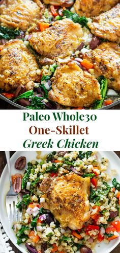 This Greek Chicken and veggies is packed with flavor, made all in one skillet and perfect for weeknights. It's a simple Paleo and dinner that you'll want on repeat in your house! It's gluten free, dairy free, keto and low carb. Whole Foods, Paleo Whole 30, Whole 30 Meals, Clean Eating Recipes, Healthy Dinner Recipes, Healthy Eating, Eating Clean, Healthy Fats, Paleo Chicken Recipes
