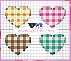 WR Artes (Blog do Wagner Reis): Coração xadrez Ponto Cruz lindo