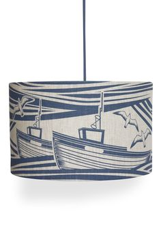 Hand screen printed linen lampshade. This lampshade is available with either a pendant or a lamp fitting, depending on how you intend to use the...