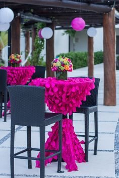 Fuchsia Petal Circle tablecloths available for purchase at www.cvlinens.com #SecretsSilversands #UnlimitedRomance