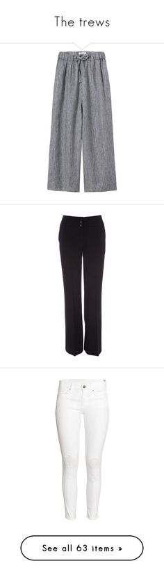 """""""The trews"""" by noodlies15 ❤ liked on Polyvore featuring pants, linen crop pants, low crotch pants, striped pants, elastic waist pants, pleated pants, calça, black, jeans and trousers"""