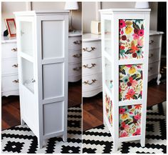 Update old Furniture with Wrapping Paper Decoupage