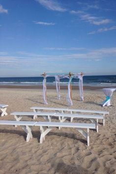 Beautiful beach wedding in Surf City NC. Rentals provided by Shoreline Party Rentals. www.shorelinegifts@aol.com