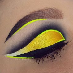 Today's neon, cut-creasey, graphic eye fun. . PRODUCTS: @nyxcosmetics Hot Black eyeshadow + @viseart Neutral palette shadows for the crease. Lid is @inglot_australia 84 and 76 gel liners as a base, with @sugarpill Buttercupcake e/s, Hi-Viz pigment and @suvabeauty White and Yellow shadows from the Cupcake & Monsters palette. Liner is @stargazerproducts Neon yellow pigment mixed with @illamasqua sealing gel. @jeffreestarcosmetics Weirdo used for the wing and in the brow to create an ombre e...