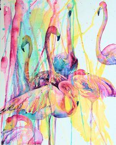 Flamingo painting ART Tropical Flamingos Art Print by jenartwork