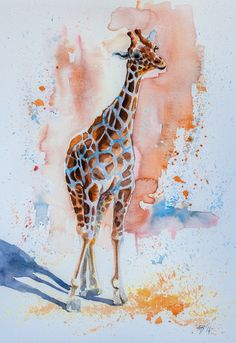 ARTFINDER: Giraffe baby by Kovács Anna Brigitta - Original watercolour painting on high quality watercolour paper. I love landscapes, still life, nature and wildlife, lights and shadows, colorful sight. Thes...