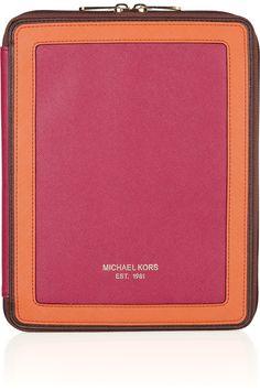MICHAEL Michael Kors Color-block textured-leather iPad case NET-A-PORTER.COM