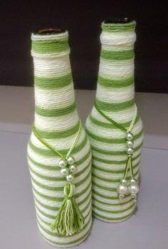 Waste Bottle Craft, Glass Bottle Crafts, Wine Bottle Art, Diy Bottle, Jute Crafts, Diy Arts And Crafts, Creative Crafts, Crafts To Make, Autumn Crafts