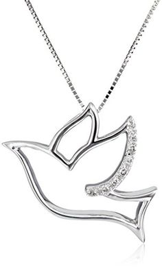10k White Gold Dove with DiamondAccent Pendant Necklace 003 cttw IJ Color I2I3 Clarity 18 -- Want additional info? Click on the image(It is Amazon affiliate link). #friends