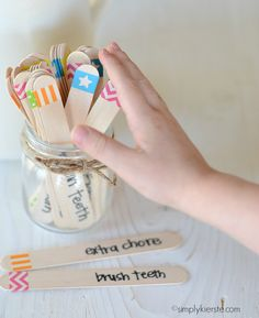washi tape chore chart | simplykierste.com. I'm thinking all chores in the jar per kid. Label them via number or color for morning, chores, after school.