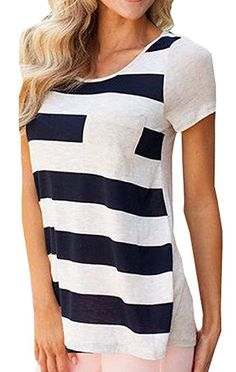 Chellysun Women's Casual O-neck Stripe Crochet Pocket T-shirt Top Tee Blouse (Small, Black)