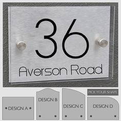 Modern House Number Sign Plaque Street Designer Door Aluminium Plate Glass Effect Acrylic Stand off Mount