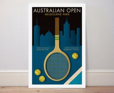 AUSTRALIAN OPEN TENNIS poster retro style sports memorabilia Nadal Federer Djokovic Murray by Kinographics on Etsy