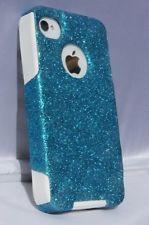 Glitter Customized Otterbox Commuter Case For iPhone 4/4S  Peacock/White NEW!