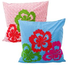 Cushion Cover with Ari Embroidered Neon Flowers in 2 Assorted Colours 60x60 cm