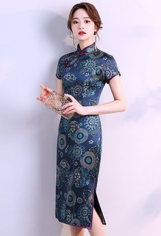 Traditional Fashion, Traditional Dresses, Cheongsam, High Neck Dress, Short Sleeve Dresses, Chinese, Feminine, Gowns, Silk