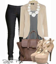 Navy striped top neutral jacket & Black jeans