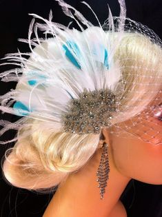 Wedding Accessories, Bridal Accessories, White or Ivory Fascinator with Tiffany Blue, Bridal Fascinator, Wedding Veil, Bridal Veil