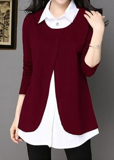 Turndown Collar Long Sleeve Patchwork Wine Red Blouse with cheap wholesale price, buy Turndown Collar Long Sleeve Patchwork Wine Red Blouse at Rotita.com !