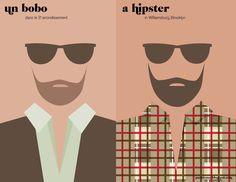 Paris vs. New York Hipster graphic