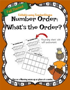 Page 5 of 12 previousnext Number Order: What's the Order?  Great editable classroom materials @teachersherpa