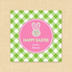 Personalized Kids Happy Easter Gift Tags or Party Favor Tags