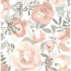 Sample Orla Floral Wallpaper in Rose from the Bluebell Collection by Brewster Home Fashions