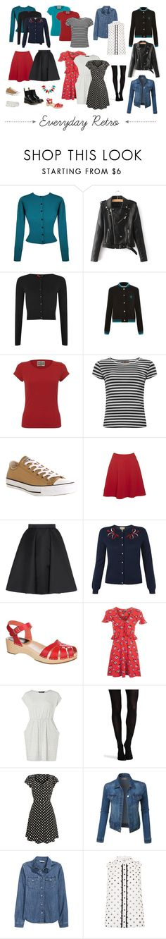 """Everyday Retro Capsule Wardrobe"" by christina-sparkle on Polyvore featuring Hell Bunny, Collectif, Converse, Giles, Dr. Martens, Swedish Hasbeens, Topshop, Dorothy Perkins, SPANX and LE3NO"