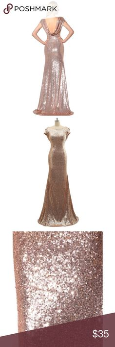 Gold dress💖 Worn only once for a gold & white wedding! Zip up back. Comes in 4 sizes 6, 8, & 12. Used as bridesmaids dresses for a couple of hours! Dresses Backless