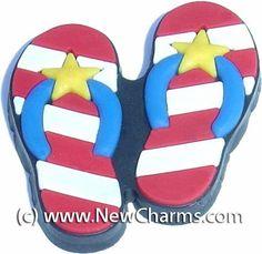 92b80f37e207f8 Patriotic Flip Flops Shoe Snap Charm Jibbitz Croc Style New Charms.  0.99.  Fun Shoe