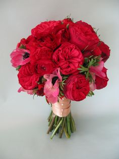 a rich red bouquet of garden roses anemones and ranunculus use red anemone - Red Garden Rose Bouquet