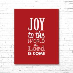 JOY To The WORLD Christmas Carol Artwork | Printable Lyrics | DIY | Red