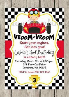 Cars Birthday Invitation Transportation Invitation Customized