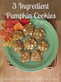 Super simple 3 ingredient pumpkin cookies make Fall baking a snap! So fast and delicious, no one will believe these weren't a huge undertaking! Have fresh baked goodness in your mouth in under 30 minutes!  sunshineandhurricanes.com