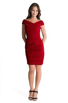 This sexy red sheath chiffon cocktail bridesmaid dress completed with allover handmade pleatings. Extravagant pleatings towards cap sleeves, V-neckline bodice and short sheath skirt. V back accented.