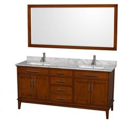 The Wyndham Hatton vanity comes in a chestnut finish that complements a Craftsman home's woodwork. The rectangular sink basins give it a current feel.
