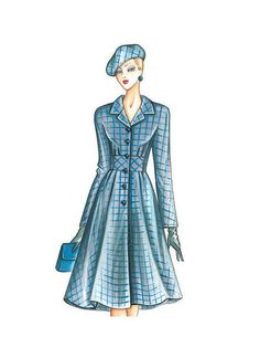 single-breasted overcoat with fitted bodice, kimono sleeves, high bias-cut sash, and full skirts with pintucks at waist Coat Pattern Sewing, Mccalls Sewing Patterns, Vogue Patterns, Coat Patterns, Dress Patterns, Vintage Vogue, Vintage Fashion, Fashion Sketches, Vintage Patterns