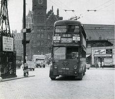 Double Decker trolleybus at St Pancras railway station Vintage London, Old London, East London, Uk History, London History, Family History, London Transport, Public Transport, Routemaster