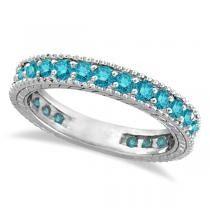 Blue Diamond Eternity Ring with Milgrain Edges 14k White Gold (1.00ct)