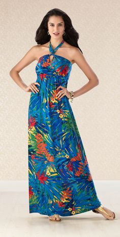 #Soma Keyhole Halter Dress in Attraction Print #SomaIntimates #blue #tropical