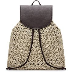 Yoins Beige Straw-Woven Lined Beach Backpack with Flap Top and... ($27) ❤ liked on Polyvore featuring bags, backpacks, beige, drawstring flap backpack, draw string bag, day pack backpack, drawstring bags and beach bags