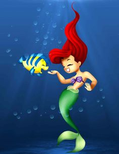 Ariel and Flounder: Between Friends by clarenceyao.deviantart.com